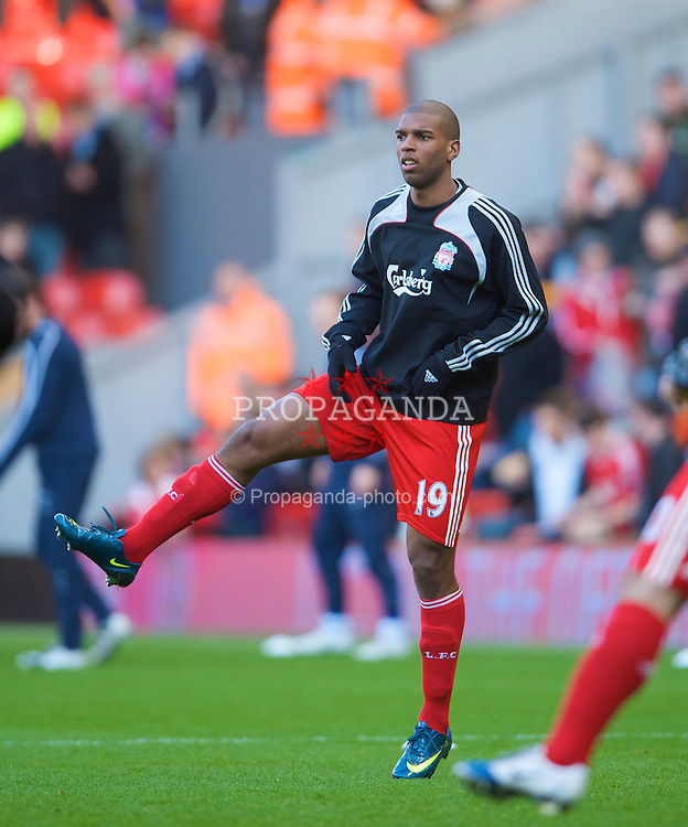 LIVERPOOL, ENGLAND - Sunday, January 25, 2009: Liverpool's Ryan Babel warms up before the FA Cup 4th Round match against Everton at Anfield. (Photo by David Rawcliffe/Propaganda)
