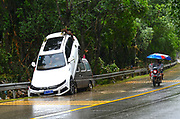 SHANGRAO, CHINA - JUNE 25: <br /> <br /> Torrential Rain Hits Jiangxi in china<br /> <br /> Cars are seen piled up as heavy rain hits Qiukou Town of Wuyuan County on June 25, 2017 in Shangrao, Jiangxi Province of China. Torrential rain since last Thursday has affected people's life in many parts of south China. 93 people are still missing by Monday morning after a landslide in Sichuan. At least 22 are people dead and 6 are missing in Jiangxi, Guizhou, Hunan, Yunnan and Anhui, according to Xinhua Agency. <br /> ©Exclusivepix Media
