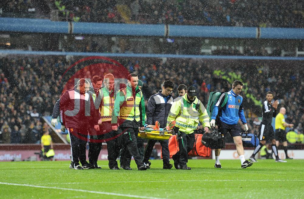 Heurelho Gomes of Watford is stretchered off the pitch. - Mandatory byline: Alex James/JMP - 28/11/2015 - Football- Aston Villa  - Birmingham, Watford  - Aston Villa v Watford - Barclays Premiership