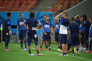 Claudio Marchisio of Italy with team mates during the Italy open training session at Arena da Amazonia, Manaus, Brazil<br /> Picture by Andrew Tobin/Focus Images Ltd +44 7710 761829<br /> 13/06/2014
