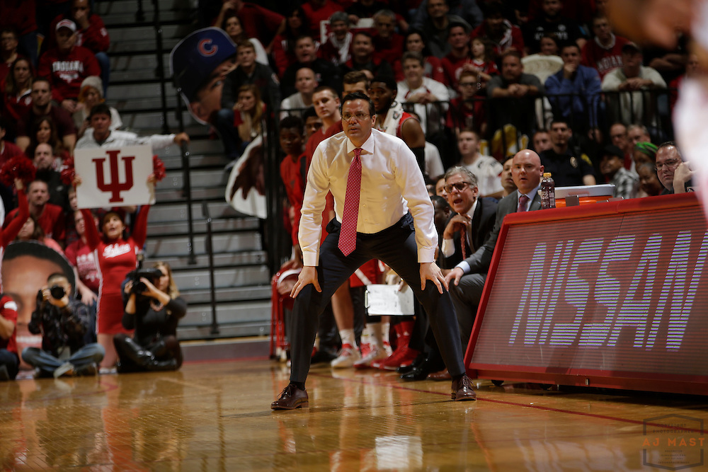 Nebraska Head Coach Tim Miles in action as Nebraska played Indiana in an NCCA college basketball game in Bloomington, Ind., Wednesday, Dec. 28, 2016. (AJ Mast via AP Images)