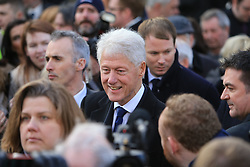 © Licensed to London News Pictures. 23/03/2017. Londonderry, UK. Former US President Bill Clinton  outside of St Columba's Church in Londonderry, Northern Ireland 23 March, 2017 during the funeral of Sinn Féin's Martin McGuinness. Mr McGuinness, a former IRA leader turned politician, died on Tuesday.. Photo credit: LNP