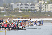 San Diego, California. USA.  Crews boating from the Beach, at the  2013 Crew Classic Regatta, Mission Bay.  12:12:25.  Sunday  07/04/2013   [Mandatory Credit. Peter Spurrier/Intersport Images]  ..