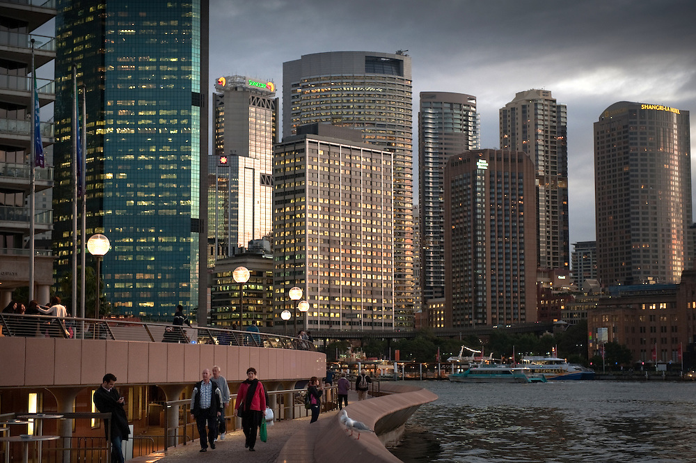 View of the CBD from Sydney Opera House at dusk, Sydney, Australia.