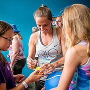 August 21, 2016, New Haven, Connecticut: <br /> Roberta Vinci of Italy signs autographs during a Box Holder meet and greet during WTA All-Access Hour on Day 3 of the 2016 Connecticut Open at the Yale University Tennis Center on Sunday, August  21, 2016 in New Haven, Connecticut. <br /> (Photo by Billie Weiss/Connecticut Open)