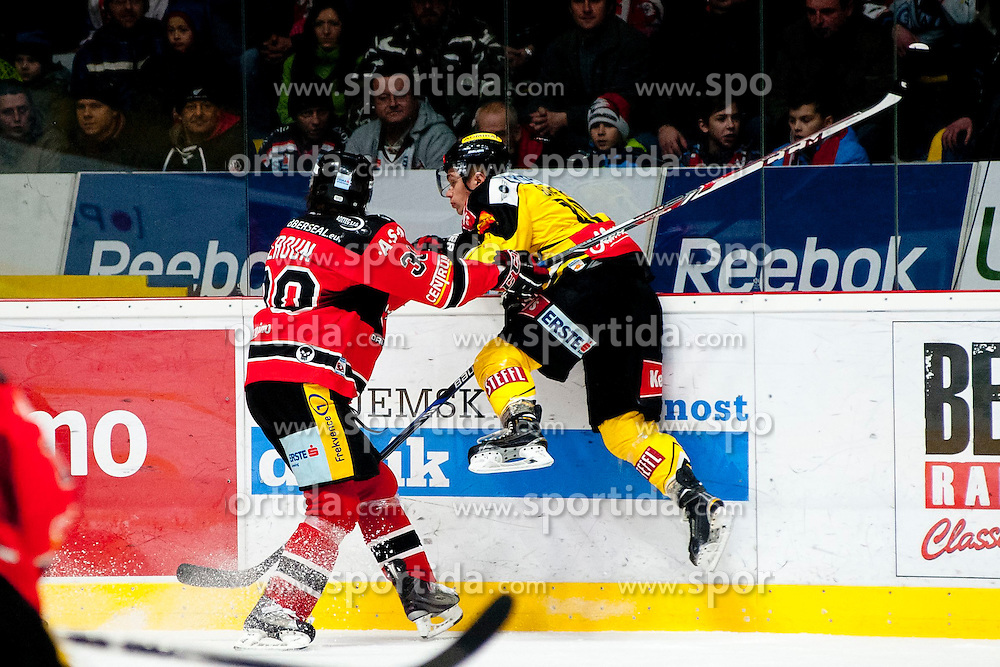 18.01.2015, Ice Rink, Znojmo, CZE, EBEL, HC Orli Znojmo vs UPC Vienna Capitals, 40. Runde, im Bild v.l. Jiri Beroun (HC Orli Znojmo) Sascha Bauer (UPC Vienna Capitals) // during the Erste Bank Icehockey League 40th round match between HC Orli Znojmo and UPC Vienna Capitals at the Ice Rink in Znojmo, Czech Republic on 2015/01/18. EXPA Pictures © 2015, PhotoCredit: EXPA/ Rostislav Pfeffer