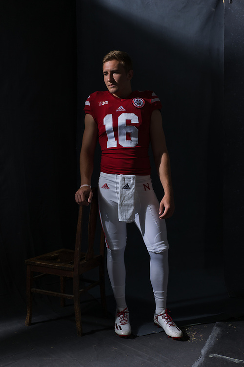 Andrew Bunch #16 during a portrait session at Memorial Stadium in Lincoln, Neb. on June 7, 2017. Photo by Paul Bellinger, Hail Varsity