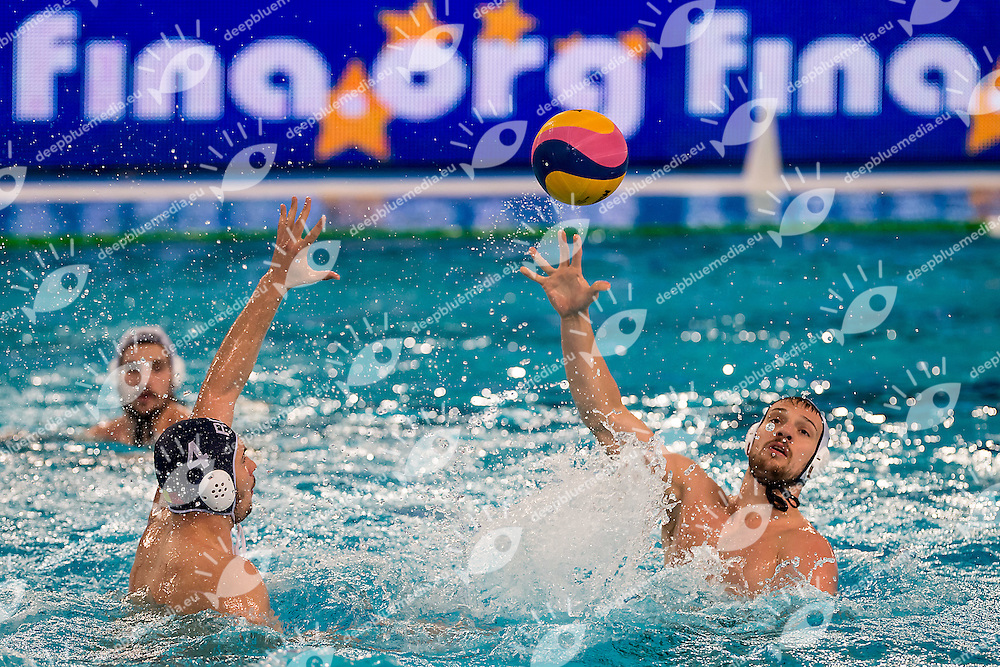 CAN ROU <br /> FINA Men's Water polo Olympic Games Qualifications Tournament 2016<br /> semi-final<br /> Canada CAN (White) Vs Roumania ROU (Blue)<br /> Trieste, Italy - Swimming Pool Bruno Bianchi<br /> Day 07  09-04-2016<br /> Photo G.Scala/Insidefoto/Deepbluemedia
