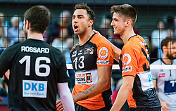 17.04.2019, Olympiahalle Innsbruck, Innsbruck, AUT, VBL, Deutsche Volleyball Bundesliga, HYPO Tirol Alpenvolleys Haching vs Berlin Recycling Volleys, Halbfinale, 3. Spiel, im Bild Jubel Benjamin Patch (Berlin) // during the German Volleyball Bundesliga (VBL) 3rd semifinal match between HYPO Tirol Alpenvolleys Haching and Berlin Recycling Volleys at the Olympiahalle Innsbruck in Innsbruck, Austria on 2019/04/17. EXPA Pictures © 2019, PhotoCredit: EXPA/ JFK