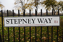"© Licensed to London News Pictures. 20/11/2014. London, UK. A general view of a Stepney Way road sign near Sir John Cass Foundation and Redcoat Church of England Secondary school, in Stepney, east London. The school is expected to be placed in ""special measures"" by the education standards watchdog, Ofstead for failing to monitor the activities of an Islamic society set up by sixth-formers at the school and has been criticised for the allowing segregation between boys and girls in the playground. Photo credit : Vickie Flores/LNP"