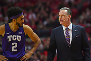 LUBBOCK, TX - MARCH 3: Head coach Jamie Dixon talks with Shawn Olden #2 of the TCU Horned Frogs during the game against the Texas Tech Red Raiders on March 3, 2018 at United Supermarket Arena in Lubbock, Texas. Texas Tech defeated TCU 79-75. Texas Tech defeated TCU 79-75. (Photo by John Weast/Getty Images) *** Local Caption *** Jamie Dixon;Shawn Olden