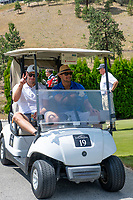 KELOWNA, CANADA - JULY 21: Curtis Hamilton and alumni Cody Almond drive by in a golf cart at the Kelowna Rockets Alumni golf tournament at Black Mountain Golf Club in Kelowna, British Columbia, Canada.  (Photo by Marissa Baecker/Shoot the Breeze)  *** Local Caption ***