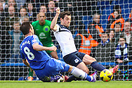 Frank Lampard of Chelsea is tacked by Leighton Baines of Everton during the Barclays Premier League match at Stamford Bridge, London<br /> Picture by David Horn/Focus Images Ltd +44 7545 970036<br /> 22/02/2014