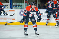 KELOWNA, CANADA - FEBRUARY 6: Michael Fora #29 of Kamloops Blazers stands on the ice during warm up against the Kelowna Rockets on February 6, 2015 at Prospera Place in Kelowna, British Columbia, Canada.  (Photo by Marissa Baecker/Shoot the Breeze)  *** Local Caption *** Michael Fora;