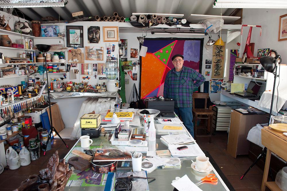Luis_Ituarte, painter, at his studio in Colonia Federal, Tijuana. ...@ Stefan Falke.http://www.stefanfalke.com/.