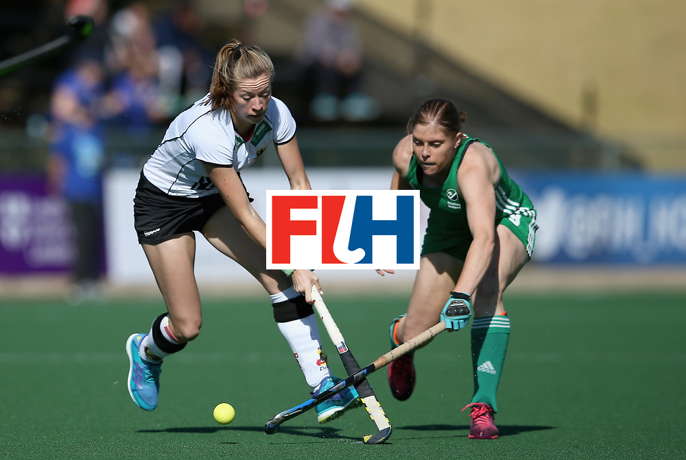JOHANNESBURG, SOUTH AFRICA - JULY 10:  Franzisca Hauke of Germany and Kathryn Mullan of Ireland battle for possession during day 2 of the FIH Hockey World League Semi Finals Pool A match between Germany and Ireland at Wits University on July 10, 2017 in Johannesburg, South Africa.  (Photo by Jan Kruger/Getty Images for FIH)
