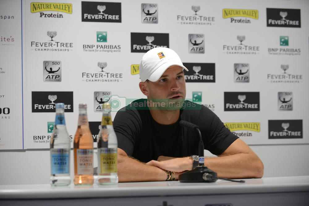 June 19, 2018 - London, England, United Kingdom - Grigor Dimitrov (BUL) is pictured during a press conference at Fever-Tree Championships at the Queens Club, London on June 19, 2018. (Credit Image: © Alberto Pezzali/NurPhoto via ZUMA Press)