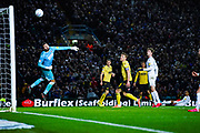 Millwall goalkeeper Bartosz Bialkowski (33) saves Leeds United forward Helder Costa (17) shot on goal during the EFL Sky Bet Championship match between Leeds United and Millwall at Elland Road, Leeds, England on 28 January 2020.