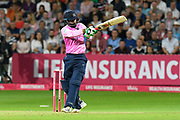 Mohammad Hafeez of Middlesex plays an attacking shot during the Vitality T20 Blast South Group match between Somerset County Cricket Club and Middlesex County Cricket Club at the Cooper Associates County Ground, Taunton, United Kingdom on 30 August 2019.
