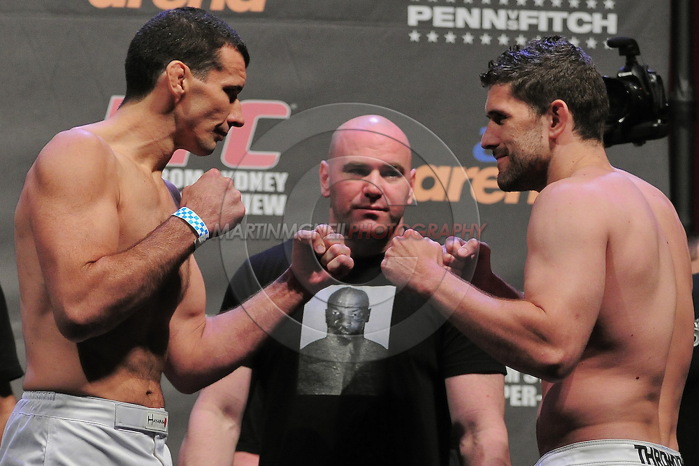 "SYDNEY, AUSTRALIA, FEBRUARY 26, 2011: Anthony Perosh (left) faces off against opponent Tom Blackledge during the weigh-in for ""UFC 127: Penn vs. Fitch"" inside Acer Arena in Sydney, Australia on February 26, 2011"
