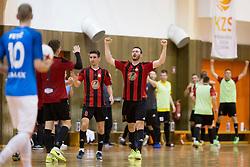 Ales Marot of FC Dobovec celebrates goal during futsal match between FC Litija and FC Dobovec Pivovarna Kozel in Final of 1.SFL 2017/18, on May 18, 2018 in Sports hall Litija, Litija, Slovenia. Photo by Urban Urbanc / Sportida