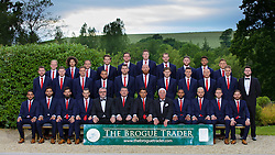 CARDIFF, WALES - Wednesday, June 1, 2016: Wales players line up for a team group photograph with xxxx and xxxx from sponsor The Brogue Trader at the Vale Resort Hotel ahead of the UEFA Euro 2016 Championships in France. Back row L-R: George Williams, Ethan Ampadu, David Vaughan, goalkeeper Chris Maxwell, goalkeeper Daniel Ward, goalkeeper Wayne Hennessey, goalkeeper Owain Fon Williams, Wes Burns, Tyler Roberts, George Williams. Middle row L-R: Paul Dummett, Simon Church, Andy King, Ashley 'Jazz' Richards, Sam Vokes, James Collins, Ben Davies, James Chester, David Cotterill, David Edwards. Front row L-R:  Neil Taylor, Hal Robson-Kanu, Joe Ledley, Gareth Bale, assistant manager Osian Roberts, manager Chris Coleman, captain Ashley Williams, Aaron Ramsey, Chris Gunter, Joe Allen. (Pic by David Rawcliffe/Propaganda)