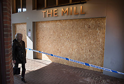 © Licensed to London News Pictures. 21/03/2018. Salisbury, UK. The Mill pub is boarded up as police continue their investigation after the poisoning of former Russian spy Sergei Skripal and his daughter Yulia . The couple where found unconscious on bench in Salisbury shopping centre. A policeman who went to their aid is currently recovering in hospital. Photo credit: Peter Macdiarmid/LNP