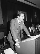 07/11/1982<br /> 11/07/1982<br /> 07 November 1982<br /> Fitzwilton Limited, Annual General Meeting at the Berkeley Court Hotel, Dublin. Picture shows Dr. A.J.F. (Tony) O'Reilly, Chairman, addressing the meeting to the right are J.R. McCluskey, Secretary and Vincent A. Ferguson, Director.