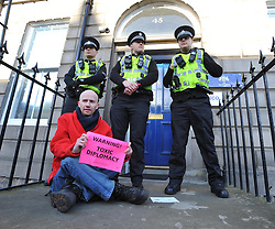 Anti nuclear protesters from Trident Ploughshares Peton Peace Pirates demonstrated outside the Scottish Office in Edinburgh on a day of coordinated action involving demonstrations outside embassies and consulates.<br /> <br /> © Dave Johnston/ EEm
