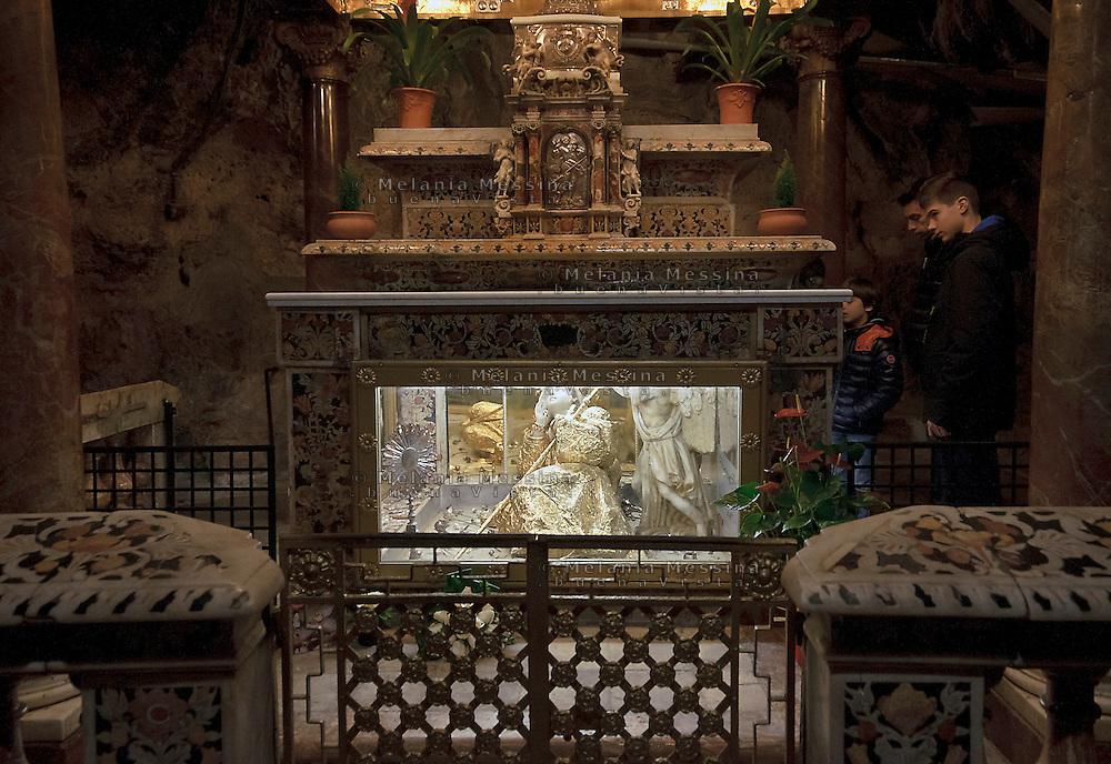 Palermo; santuario di Santa Rosalia nella grotta di monte Pellegrino.<br /> Palermo shrine of Saint Rosalia in the cave of Pellegrino Mount .