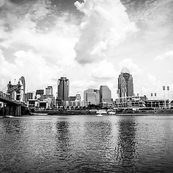 Downtown Cincinnati skyline black and white picture with Great American Ballpark, Great American Insurance Group Tower, PNC Tower building, Omnicare building, US Bank building, Carew Tower building, Scripps Center building, US Bank Area, and Roebling Bridge. Photo Copyright © 2012 Paul Velgos with All Rights Reserved.