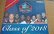 Aug 1, 2018; Canton, OH, USA; General overall view of banner with 2018 inductees  Randy Moss, Brian Urlacher, Terrell Owens, Brain Dawkins, Ray Lewis, Robert Brazile, Bobby Beathard and Jerry Kramer at the Pro Football Hall of Fame. (Walt Middleton/Image of Sport)