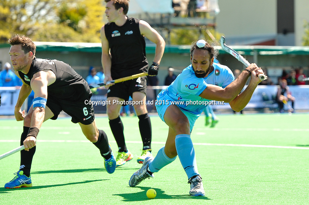 Sardar Singh of India has a shot on goal during the Mens Hockey International, 2015 South Island Tour game between the New Zealand Black Sticks V India, at Marist Park, Christchurch, on the 11th October 2015. Copyright Photo: John Davidson / www.photosport.nz