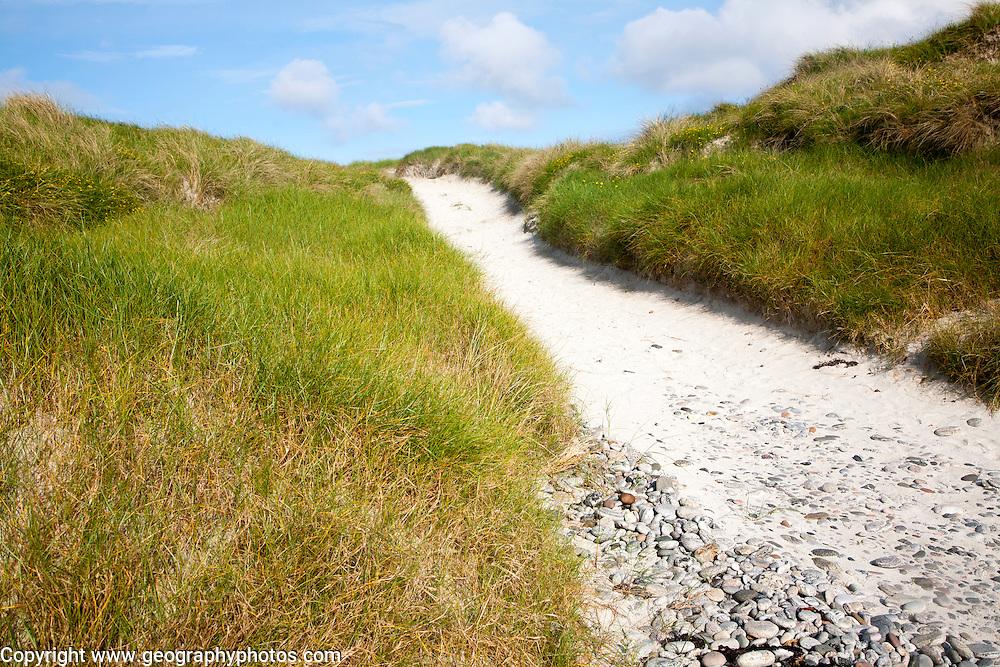 Sandy path through vegetated sand dunes on Vatersay, Barra, Outer Hebrides, Scotland, UK