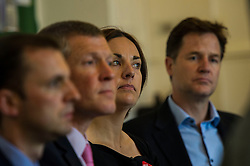 Pictured: Kezia Dugdale<br /> <br /> Scottish Labour leader  Kezia Dugdale MSP  joined Scottish Greens Sarah-Beattie Smith, Conservative Jackson Carlop, SNP's Steven Geffins MP along with  Liberal Democrats Nick Clegg and Willie Rennie at the European Movement for Scotland rally in Edinburgh today.<br /> Ger Harley | EEm 16 June 2016