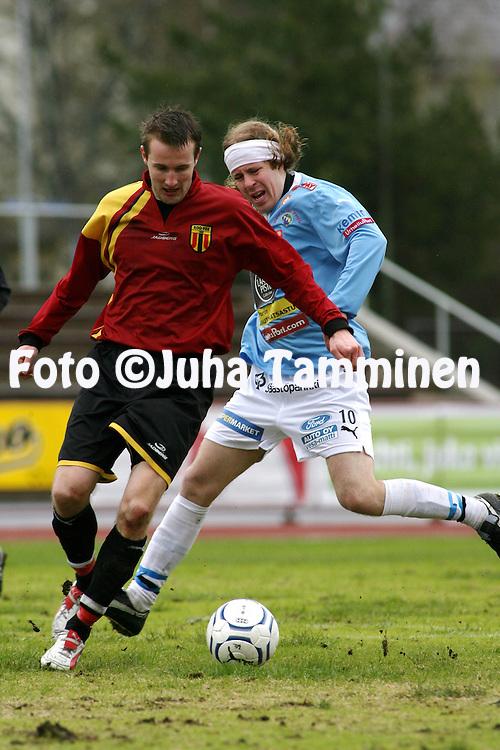 05.05.2007, Pori..Kakkonen 2007, lohko B.Porin Palloilijat - KOO-VEE Tampere.Toni Hevonkorpi (KOO-VEE) v Teemu Vihtil? (PoPa).©Juha Tamminen.....ARK:k