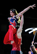 Sep 21, 2008; San Jose, CA, USA; Shayla Worley (top) and Alexander Artemev (bottom) perform on the floor during the 2008 Tour of Gymnastics Superstars post-Beijing Olympic tour at HP Pavilion. Mandatory Credit: Kyle Terada-Terada Photo