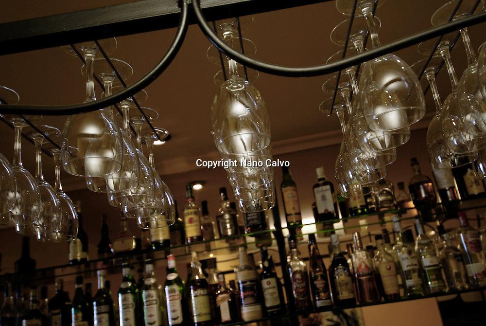 Glasses and bottles in restaurant