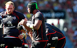 Stade Toulouse captain Thierry Dusautoir feels the heat as he team loses their third game of the season.  Stade Toulousain v ASM Clermont Auvergne, Stade Ernest Wallon, Samedi 13 September 2014. Top 14 5eme Journee.