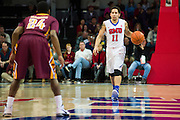 DALLAS, TX - DECEMBER 29: Nic Moore #11 of the SMU Mustangs brings the ball up court against the Midwestern State Mustangs on December 29, 2014 at Moody Coliseum in Dallas, Texas.  (Photo by Cooper Neill/Getty Images) *** Local Caption *** Nic Moore