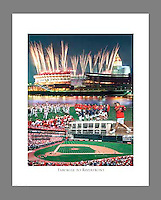 Custom printed, signed, and numbered 19x24 poster of the old Riverfront Stadium, featuring the Pete Rose All-Star Softball Game, the last pitch thrown at Riverfront Stadium, and the one and only time fireworks were shot from the top of the stadium.