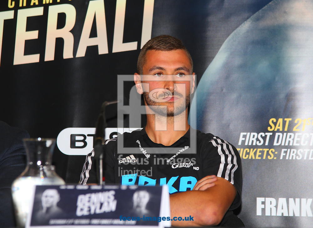 Dennis Ceylan during the press conference prior to the Warrington v Ceylan IBF Featherweight World title eliminator contest at Aspire, Leeds, UK.<br /> Picture by Stephen Gaunt/Focus Images Ltd +447904 833202<br /> 04/09/2017