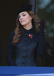 (Centre) The Duchess of Cambridge during the annual Remembrance Sunday Service at the Cenotaph, Whitehall, London, England. Sunday, 10th November 2013. Picture by Andrew Parsons / i-Images