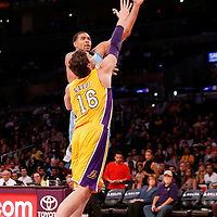 06 October 2013: Denver Nuggets center JaVale McGee (34) goes for the shot over Los Angeles Lakers power forward Pau Gasol (16) during the Denver Nuggets 97-88 victory over the Los Angeles Lakers at the Staples Center, Los Angeles, California, USA.