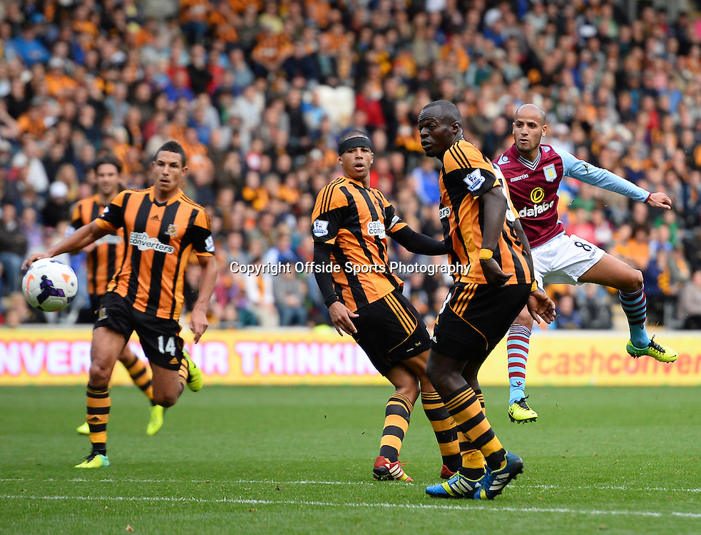 5th October 2013 - Barclays Premier  League - Hull City v Aston Villa - Karim El Ahmadi of Aston Villa shoots at goal - Photo: Marc Atkins / Offside.