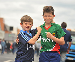 All to Play for Again Boys.......brothers Will and Daniel Scahill whose parents are from Dublin and Ballaghadeerren square up as the All Ireland Semi-final between Mayo and Dublin ended in a draw on sunday last.<br /> Pic Conor McKeown.