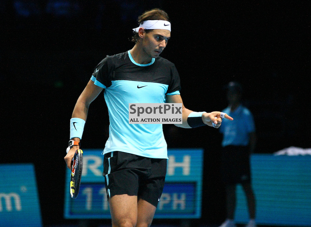 Rafael Nadal in a commanding position. ATP Finals 2015 at O2 Arena, London. Stanislas Wawrinka plays Rafael Nadal in their first match in the Group Ilie Nastase. 16th November 2015. (c) Matt Bristow | SportPix.org.uk