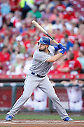 CINCINNATI, OH - AUGUST 18: Eric Hosmer #35 of the Kansas City Royals bats against the Cincinnati Reds during the game at Great American Ball Park on August 18, 2015 in Cincinnati, Ohio. The Royals defeated the Reds 3-1 in 13 innings. (Photo by Joe Robbins)  Eric Hosmer