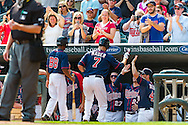 Joe Mauer #7 of the Minnesota Twins is congratulated in the dugout during a game against Chicago White Sox on September 16, 2012 at Target Field in Minneapolis, Minnesota.  The White Sox defeated the Twins 9 to 2.  Photo: Ben Krause