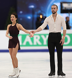 January 17, 2018 - Moscow, Russia - Ksenia Stolbova and Fedor Klimov of Russia perform their short program in the pair competition at the 2018 ISU European Figure Skating Championships, at Megasport Arena in Moscow. (Credit Image: © Igor Russak/NurPhoto via ZUMA Press)